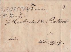 Sachsen Brief Zackenrandstempel Rosswein 30.4.1828 Gel. Nach Leipzig Mit Inhalt - Sachsen