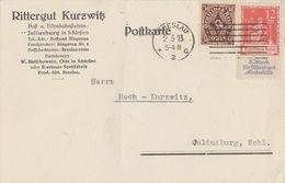 DR Karte Mif Minr.208, 234 Breslau 2.3.23 Geprüft - Deutschland