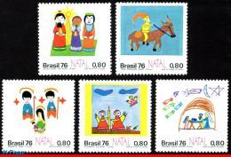 Ref. BR-1479-83S BRAZIL 1976 CHRISTMAS, CHILDREN'S DRAWINGS,, RELIGION, MI# 1564-68, SET MNH 5V Sc# 1479-1483 - Brazil