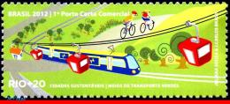 Ref. BR-3218L BRAZIL 2012 RAILWAYS, TRAINS, RIO+20, UN, TRANSPORT, MEANS GREENS, TRAIN, BIKE, MNH 1V Sc# 3218L - Ungebraucht