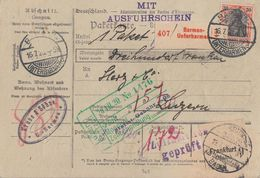 DR Paketkarte Mif Minr.89II,2x 96B,2x 113 Barmen 16.7.20 Gel. In Schweiz - Deutschland