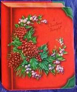CARTE NOEL LIVRE En TROMPE OEIL , Houx & Gui Pommes De Pin , BOOK Greetings Card CHRISTMAS THOUGHT  Holly Poinsettia - Noël