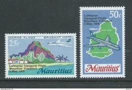 Mauritius 1970 Lufthansa Air Plane Flight Set Of 2 MNH - Mauritius (1968-...)
