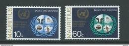Mauritius 1970 United Nations Set Of 2 MNH - Mauritius (1968-...)