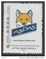 Timbre Personnalisé Phil@poste Cadre Gris - Logo Aspas (renard) - 1ère édition - Personnalisés (MonTimbraMoi)