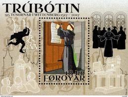 Faroe Islands - 2017 - Reformation 500th Anniversary - Mint Souvenir Sheet - Faeroër