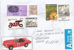 Belgique:Salon De L'Auto (50 Ième Salon) Sur Lettre Adressée En Russie - Cars