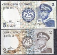 LESOTHO, 2 & 5 MALOTI Type 1978 UNCIRCULATED - Banknotes