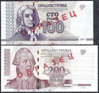 "Transnistria, 100 & 200 Rubles 2004-2007 ""AA"" SPECIMEN UNCIRCULATED - Bankbiljetten"