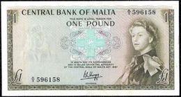Malta, 1 Pound Type 1967 XF QEII Banknote - Malte