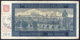 GERMANY, OCCUPATION BOHEMIA & MORAVIA 100 KRONEN Type 1940 VF - Banknotes