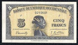 Western Africa, 5 Francs Type 1942 XF Banknote - Banknotes
