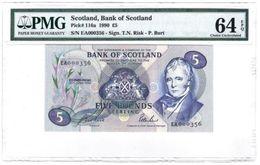 Scotland 5 Pounds 1990 PMG 64 EPQ Low S/N - Banknotes