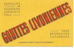 Buvard Gouttes Livoniennes. Toux, Bronchites, Catarrhes. Laboratoires Trouette - Perret.  (Pharmacie) - Drogheria