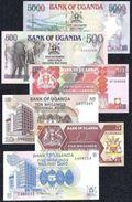Uganda 5 - 5000 Shillings 1987 - 1998  XF - UNC - Banknotes