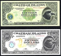 New Zealand, Chatham Islands 15 Dollars 1999 - 2001 A Polymer UNC - Banknotes