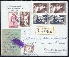 France - Belgium Collection Stamped Registered Cover 1954 - Europe (Other)