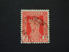 1950 Sg 0156  3 ANNAS  RED/ORANGE WMK 69 M.STAR ( 1 ) - Official Stamps