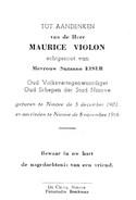 Maurice VIOLON (Suzanne EISER) - Oud Volksvertegenwoordiger-Oud Schepen Stad Ninove - 1902-1966 - Imágenes Religiosas