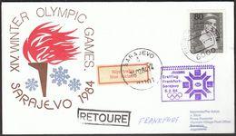 Germany Frank 1984 / Olympic Games Sarajevo / Sent With First JAT Flight Frankfurt - Sarajevo / Return - Hiver 1984: Sarajevo