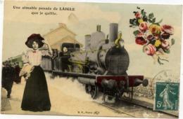 61 Une Aimable Pensée De LAIGLE (L'Aigle) Que Je Quitte - TRAIN, Locomotive Gros Plan - Très Bon état - L'Aigle