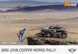 Rally Dakar 2017  -  Mini John Cooper Works X-Raid  -  Pilotes: Mikko Hirvonen/Michel Périn - Carte Promo - Rallyes