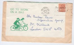 1980 Uxbridge GO TO WORK ON A BIKE  Illus CYCLING  COVER Re-use Label Gb Stamps Bicycle Friends The Earth Environment - Vélo