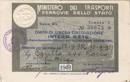 FERROVIE DELLO STATO / CARTA DI LIBERA CIRCOLAZIONE - Classe 1^ _  1951 - Europe