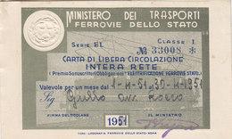 FERROVIE DELLO STATO / CARTA DI LIBERA CIRCOLAZIONE - Classe 1^ _  1951 - Europa