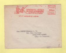 EMA - Machine C - Soudure D'etain Plomb D Imprimerie Antifriction - Paris - 1957 - Marcophilie (Lettres)