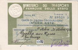 FERROVIE DELLO STATO / CARTA DI LIBERA CIRCOLAZIONE - Classe 1^ _  1952 - Europe