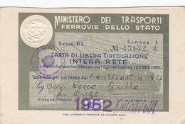 FERROVIE DELLO STATO / CARTA DI LIBERA CIRCOLAZIONE - Classe 1^ _  1952 - Abbonamenti