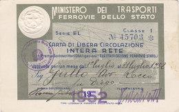 FERROVIE DELLO STATO / CARTA DI LIBERA CIRCOLAZIONE - Classe 1^ _  1952 - Europa