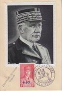 CP Maximum (effigie En Soie 600 Exemplaires) N° 494 Pétain 1F + 10c Obl. St Etienne Journée Du Timbre 19 Avril 1942 - Cartes-Maximum