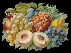 CHROMO DECOUPIS GRAND FORMAT - Corbeille Avec Raisin Blanc, Raisin Noir, Ananas Et Autres Fruits - 240x170 Mm - Découpis
