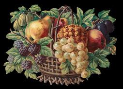 CHROMO DECOUPIS GRAND FORMAT - Corbeille Avec Raisin, Mûres Et Autres Fruits - 240x170 Mm - Découpis
