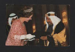 Postcard 80s SHEIKH ISA BIN SULMAN AL KHALIFA AMIR BAHRAIN & QUEEN ELIZABETH UK - Postcards