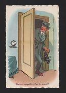 1940 Years ART POSTCARD COMIC Drunk Alcoholic MEN & Home FRANCE PARIS - Comics