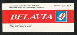 Belavia Airlines Transport Ticket Used Passenger Ticket - Transportation Tickets