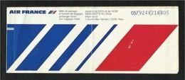 Air France Airline  Passenger Ticket With Abu Dhabi Label Inside Used Transport Ticket  3 Scan - Titres De Transport