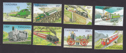Tanzania, Scott #658-665, Mint Hinged, Cog Trains, Issued 1990 - Tansania (1964-...)