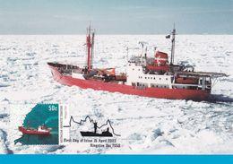 Australian Antarctic Territory 2003 Antarctic Ships, Magga Dan Moving Slowly Through The Ice, Maximum Card - Maximum Cards
