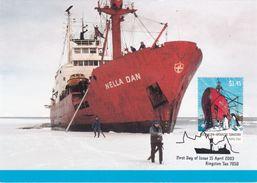 Australian Antarctic Territory 2003 Antarctic Ships, Nella Dan In The Ice, Maximum Card - Maximum Cards