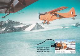 Australian Antarctic Territory 2004 Transport, Beaver In Prince Charles Mountain, Maximum Card - Maximum Cards