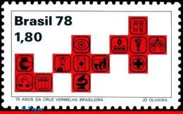 Ref. BR-1597 BRAZIL 1978 HEALTH, RED CROSS AND ACTIVITIES,, 70TH ANNIV., MI# 1691, MNH 1V Sc# 1597 - Brasilien