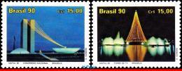 Ref. BR-2292-93 BRAZIL 1990 CHRISTMAS, ARCHITECTURE OF BRASILIA,, LIGHTS, MI# 2390-91, SET MNH 2V Sc# 2292-2293 - Brazil