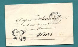 Deux Sèvres - Bressuire Pour Tours. CàD Type 15 + Taxe Tampon 25 - Postmark Collection (Covers)