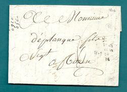 Deux Sèvres - Mauzé Pour Rouen. LAC De 1806 - Marcophilie (Lettres)