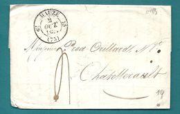 Deux Sèvres - Mauzé Pour Chatellerault. CàD Type 12 + Taxe 4 - Marcophilie (Lettres)