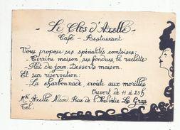 Carte De Visite, 15 X 10 , Café - Restaurant LE CLOS D'AXELLE , Rue De L'Helvétie , LES GRAS , Doubs - Visiting Cards
